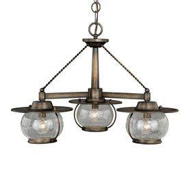 Cascadia Lighting Jamestown 24-In 3-Light Parisian Bronze Barn Seeded