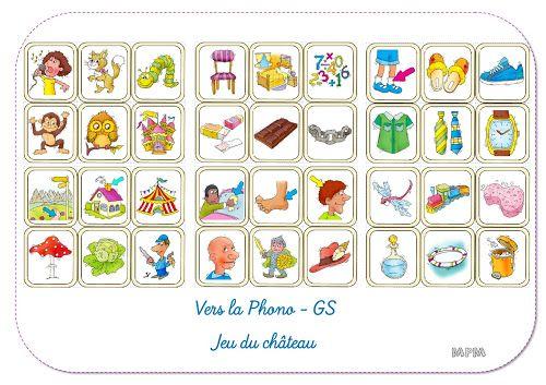 Ma petite maternelle: Phonologie - Jeu du château GS | Jeux maternelle, Maternelle, Jeux a imprimer