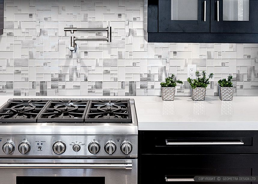 Modern Espresso #Kitchen Cabinet with White Glass Metal #Backsplash ...