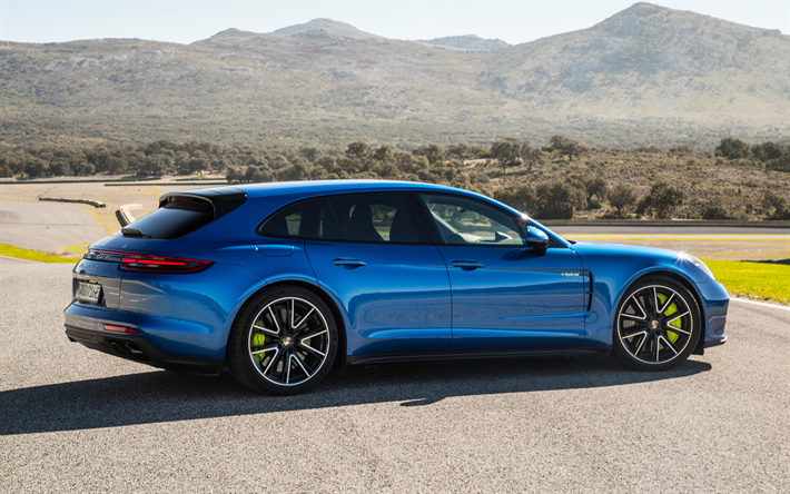 Download Wallpapers Porsche Panamera Turbo S 2018 E Hybrid 4k Blue Sports Coupe Tuning Green Calipers