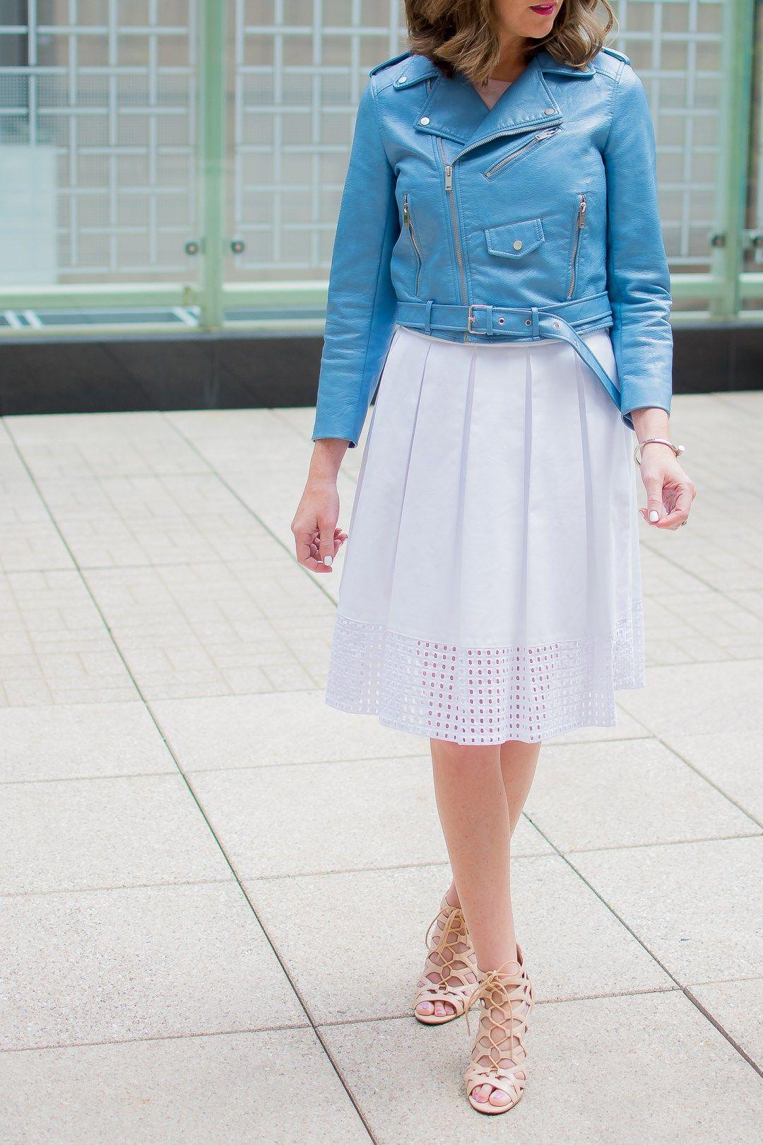 da292bc14 zara-blue-cropped-moto-jacket-white-eyelet-midi-skirt-chicago-terrace-lace- up-heels-peninsula-hotel