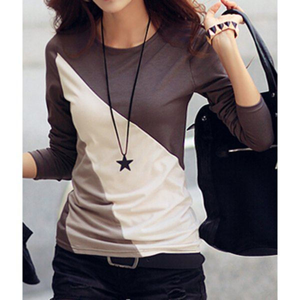 Casual Round Collar Long Sleeve Spliced Color Block Women's T ...