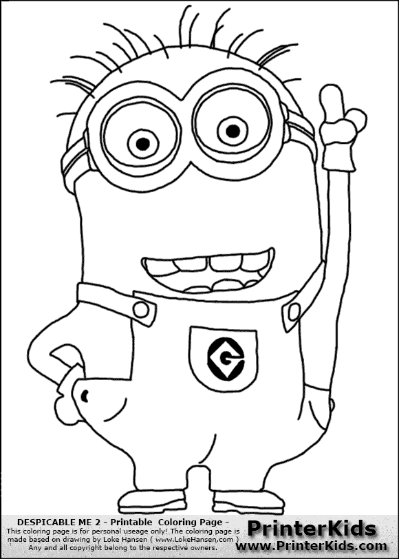 Minions Coloring Printables Despicable Me 2 Minion 1 Pointing Up Page Preview