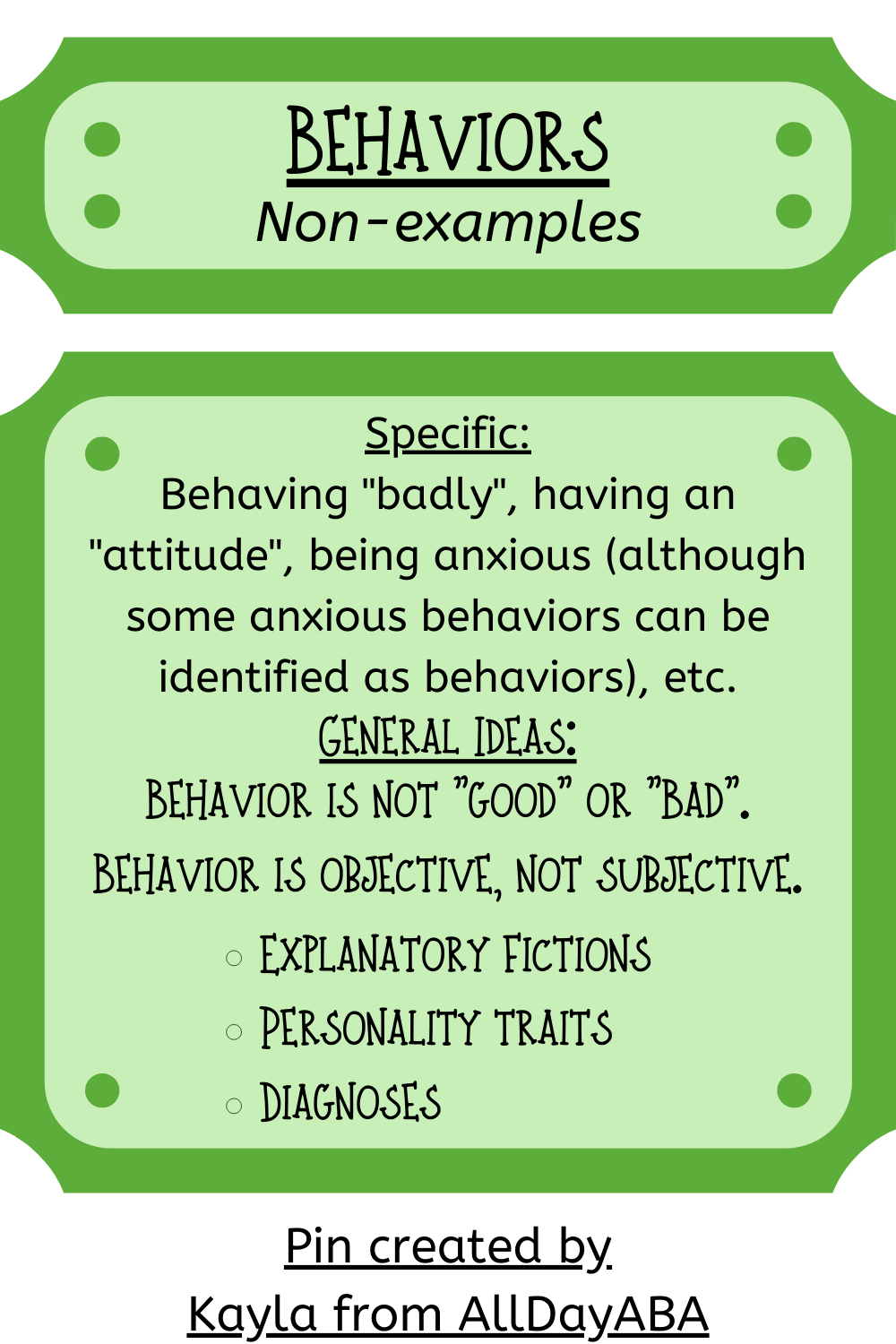 Behaviors Nonexamples Quick Glossary of ABA Terms