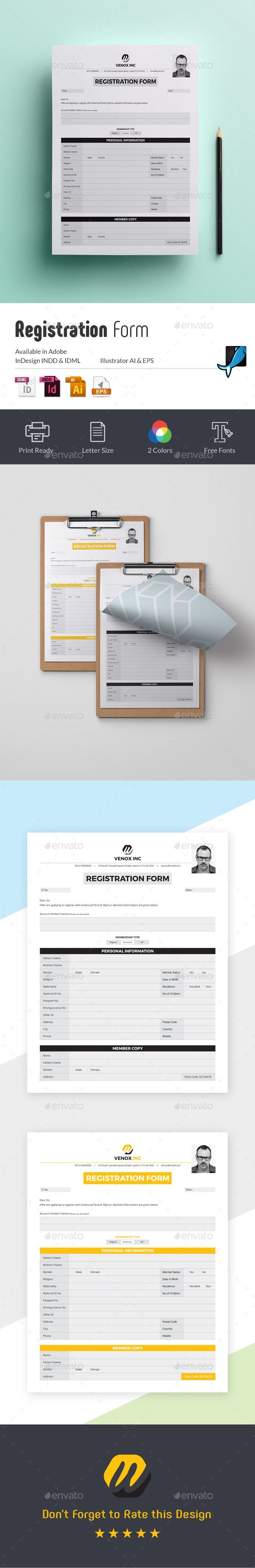 Paper Registration Form Template Registration Form  Pinterest  Registration Form Template And .