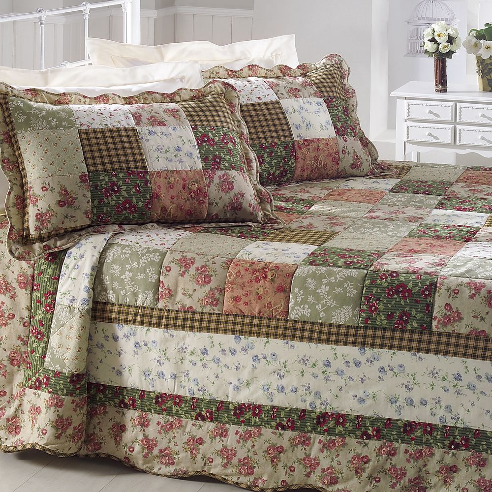 Colcha patchwork queen com 2 portas travesseiro corttex - Casas de patchwork ...