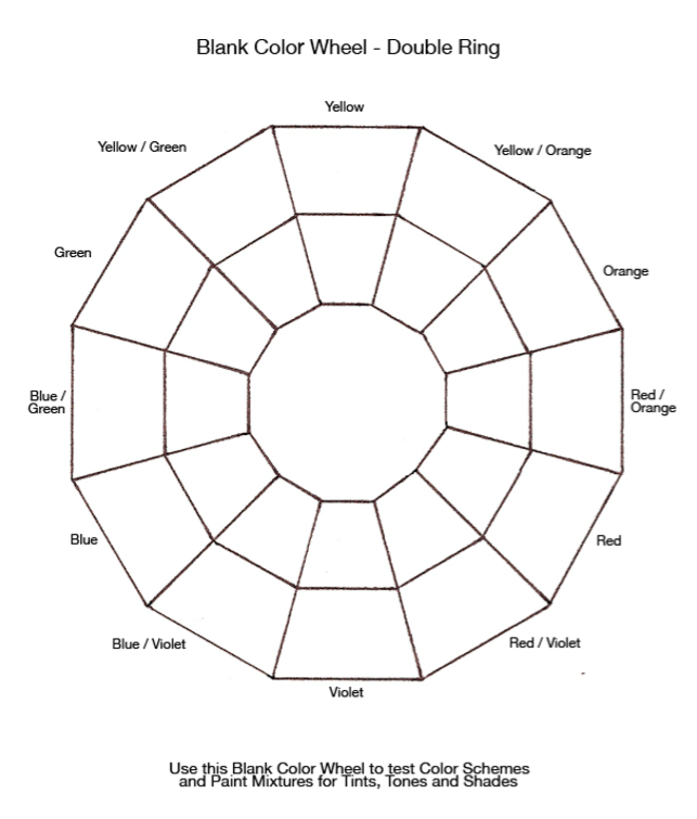 Colour Theory Wheel Template Color Wheel Paint Color Wheel Color Wheel Worksheet