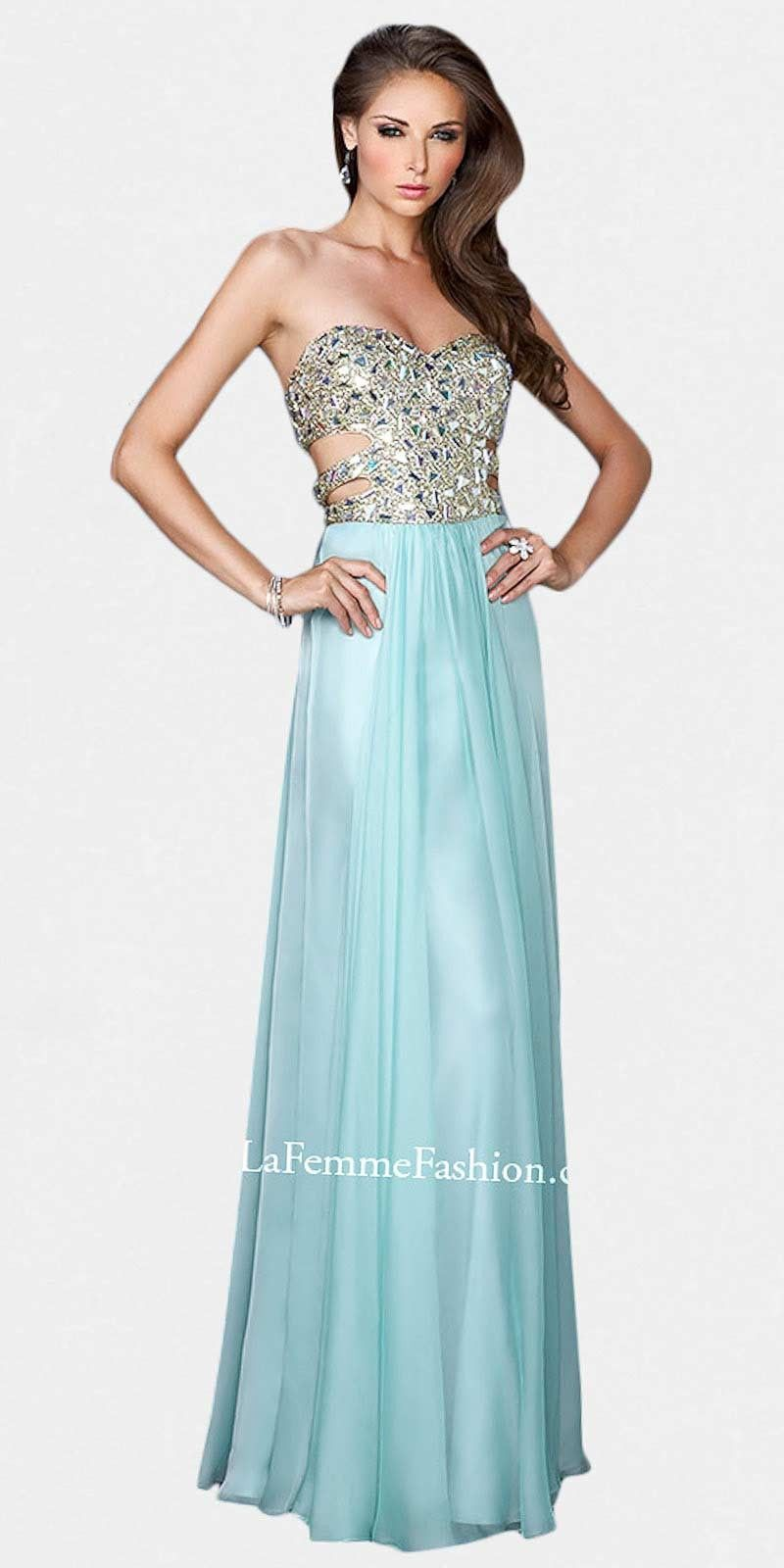 STRAPLESS DIAMOND RHINESTONE CUTOUT PROM DRESSES BY LA FEMME | Prom ...