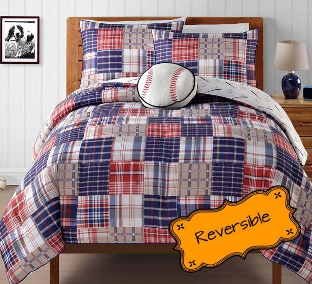 Boys Twin Plaid Reversible Baseball Comforter Set 3 Piece Kids