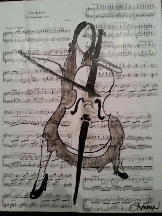 La violoncelliste art painting by Annieartshop on Etsy