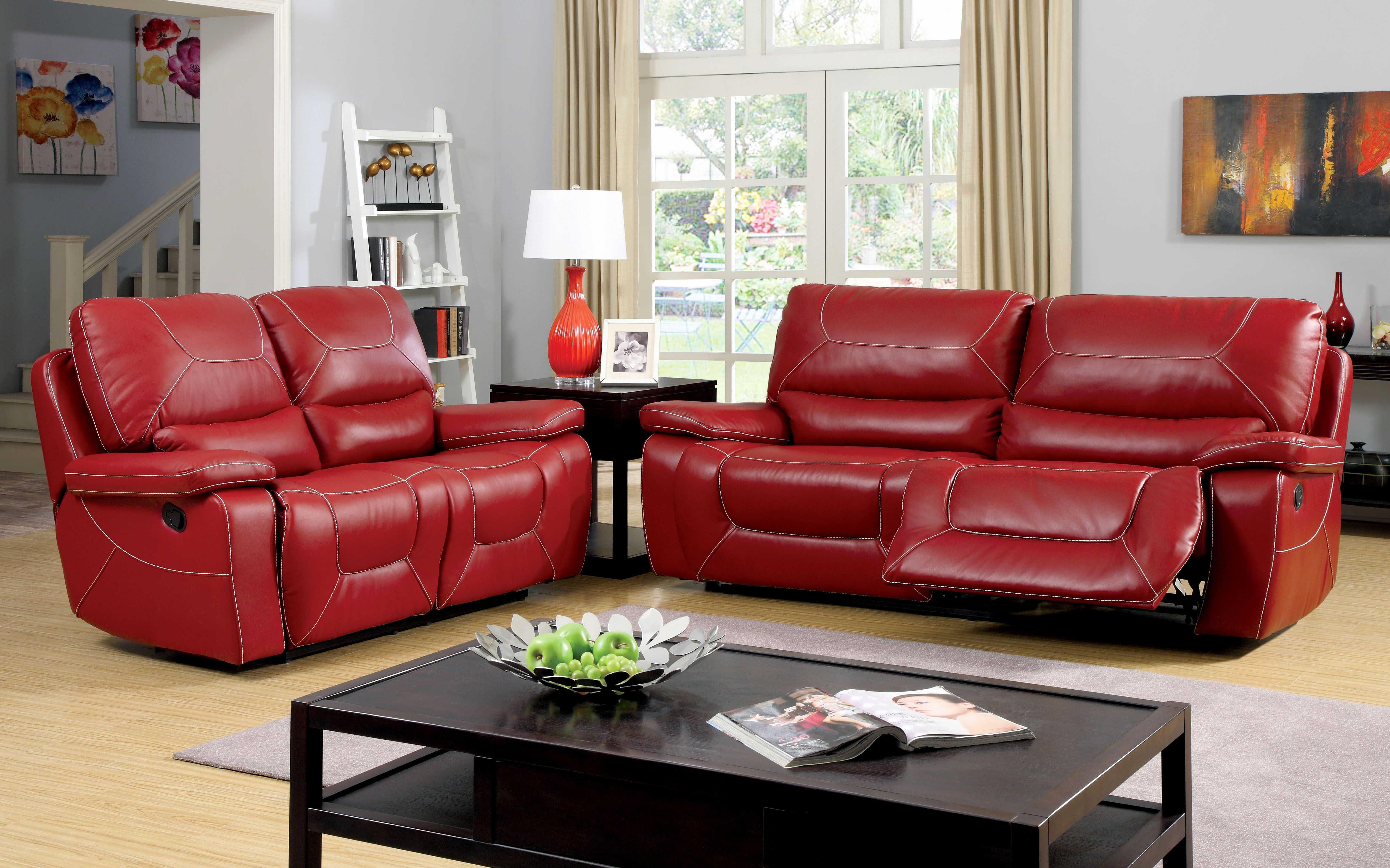 Red Reclining Sofa Microfiber Living Room Overstuffed