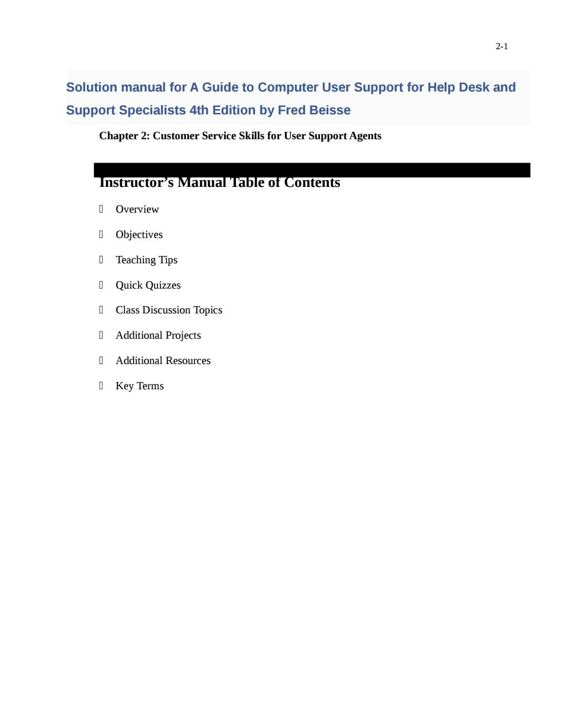 Solutions manual for a guide to computer user support for help desk and  support specialists 4th edit