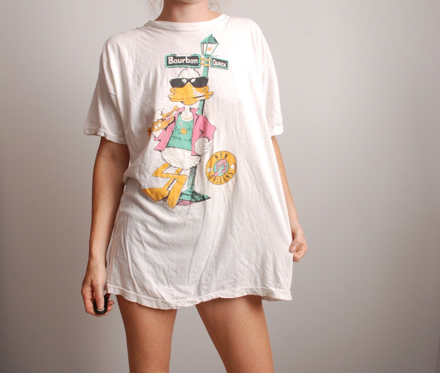80s large cartoon duck New Orleans Bourbon Street tourism tee thin shirt by furhatguild on Etsy