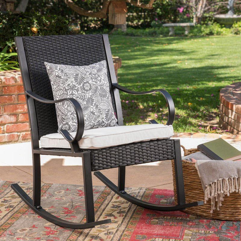 Kampmann Outdoor Wicker Rocking Chair With Cushions With Images