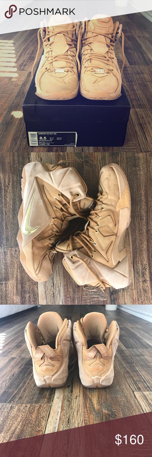 99ed8e30babc Nike Lebron XII EXT QS Wheat Metallic Gold Nike Shoes Athletic Shoes ...