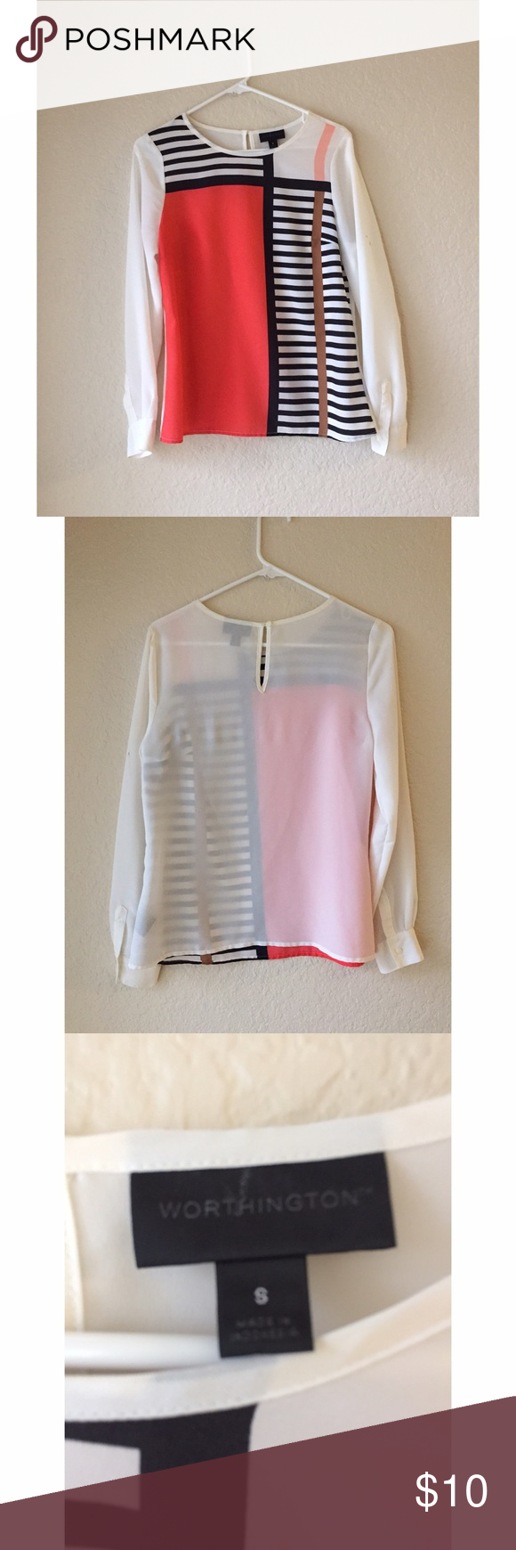 💼 Worthington Striped Color Block Blouse This is a silky-feeling blouse from Worthington, size S. Excellent for the workplace! Has a black stain on the left sleeve (see picture 4), but it might come out with some stain remover and a little hard work! Worthington Tops Blouses