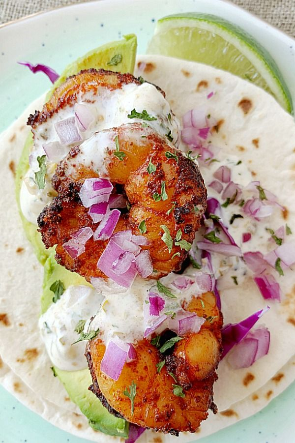 Air Fryer Shrimp Tacos | Foodtastic Mom #shrimptacos #airfryer #airfryerrecipes #tacorecipes #airfryershrimptacos #airfryertacos