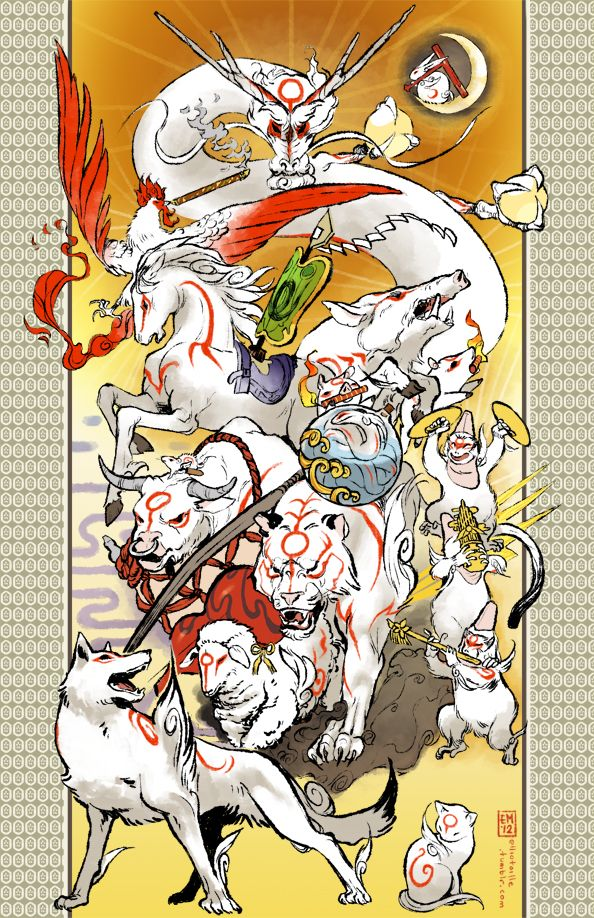 Gods Of The Brush By Emworks On Deviantart Okami Amaterasu Anime