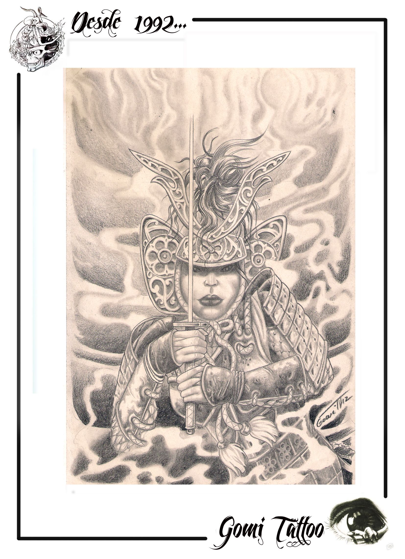 Dibujo A Lapizninja Neska Tatuajes En Iruñagomi Tattoo