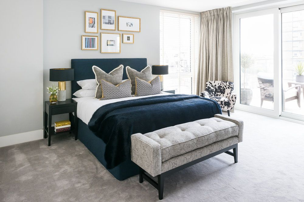 Contemporary Bedroom With Navy Grey And Gold Highlights Grey Bedroom Decor Grey And Gold Bedroom Contemporary Bedroom