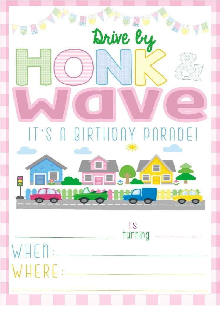 Free Drive By Birthday Parade Invitation In 2020 Birthday Invitations Kids Birthday Party Invitations Free Kids Invitations