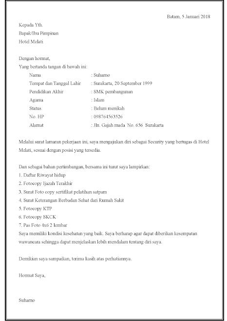 15 Contoh Surat Lamaran Kerja Satpam Security Atau Penjaga Di Perumahan Hotel Kantor Dan Surat Pendidikan Dasar Pendidikan