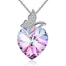GAEA H Necklaces for Women Fashion Made with Swarovski Forver Love Heart Diamond Crystals Fine Pendants Jewelry vd5SJCVZ