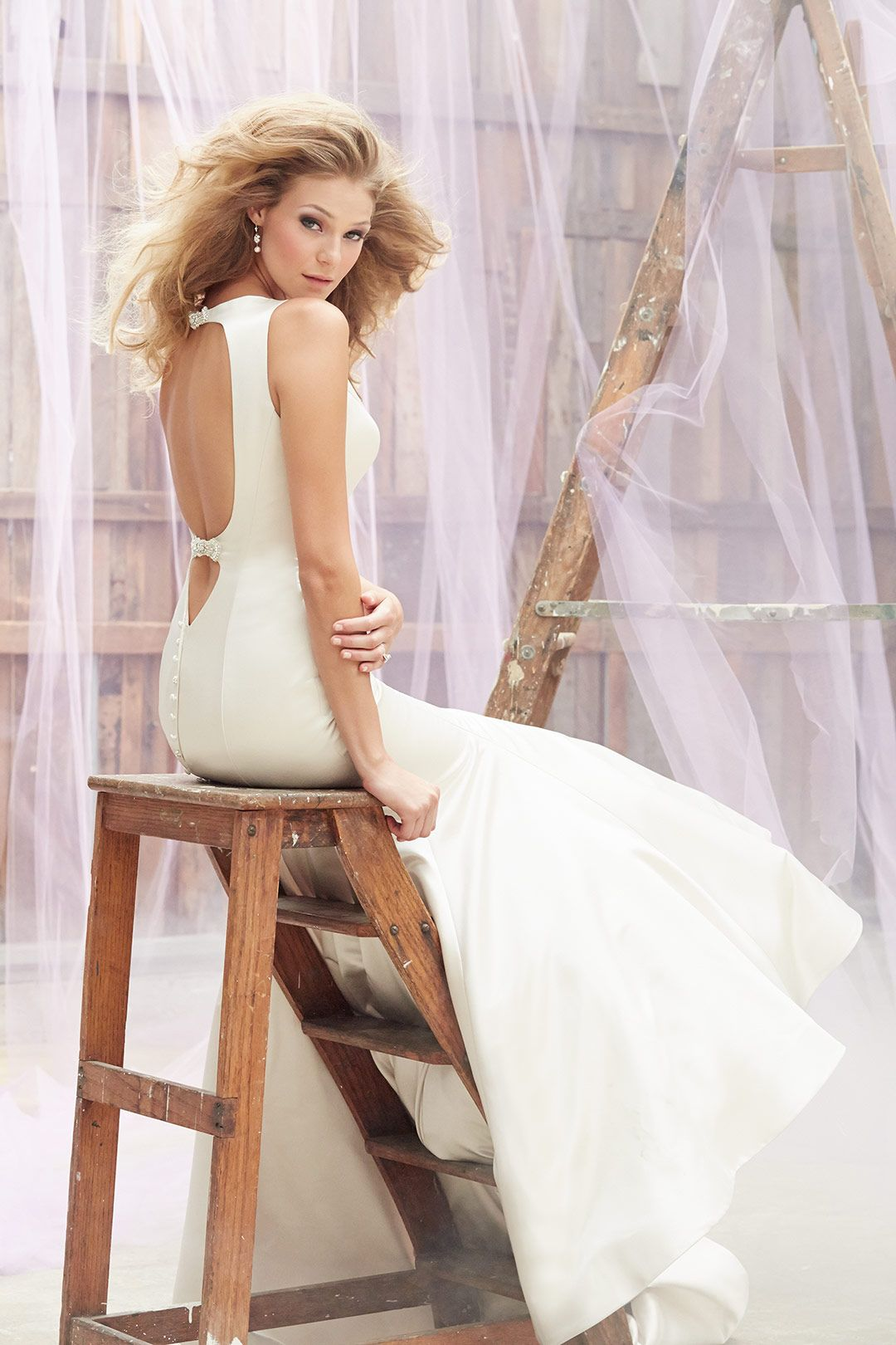 Wedding dress with bow on back  Madison James MJ  For a striking focal point look no further