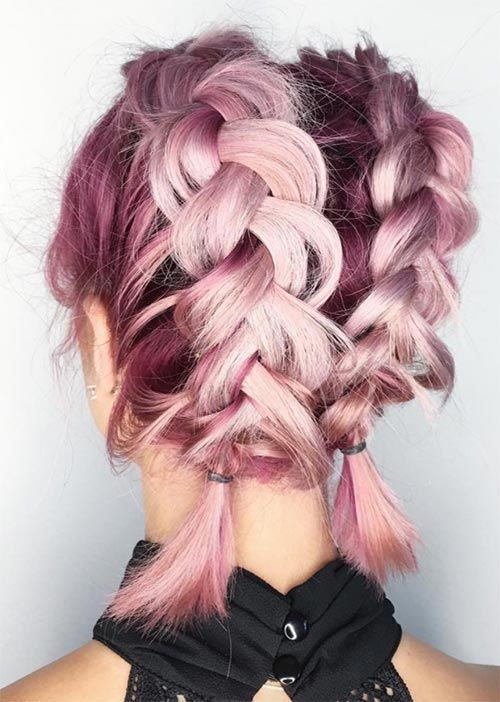 Pretty Holiday Hairstyles Ideas Double Dutch Braids For Short