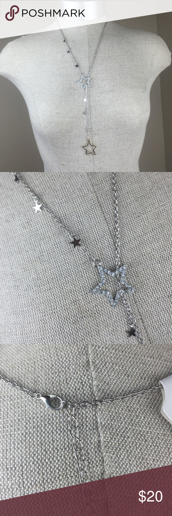 New silver gold dangle star necklace Brand new with tags. Pet and smoke free home. Silver and gold color, dangle star necklace. Clasp closure. Bundle for discounts. Absolutely NO trades. Jewelry Necklaces