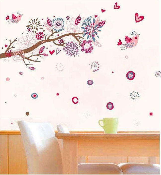 Bird Wall Decals Pink Tree Birds Love Hearts Removable Wall Stickers Decals Art Decor Decoración De Unas Vinilos Decoracion Fiesta