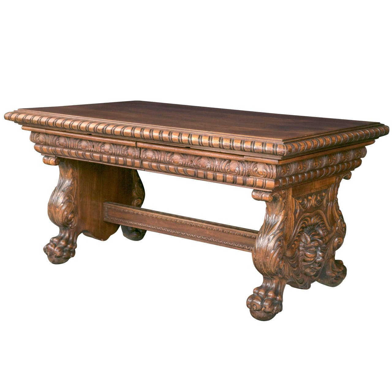 Highly Carved Walnut Library/Writing Table | From a unique collection of antique and modern desks and writing tables at https://www.1stdibs.com/furniture/tables/desks-writing-tables/