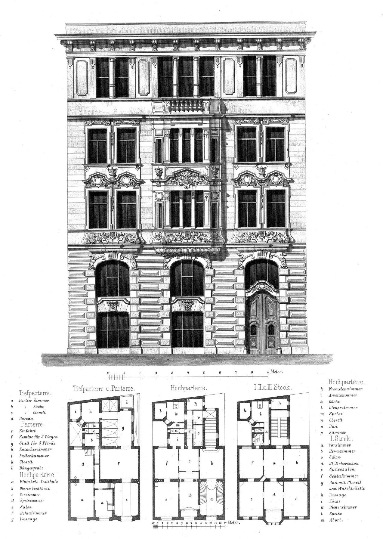 Elevation Plan Building : Elevation and plans for a residential building vienna