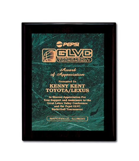 Ebony Plaque With Etched Green Marble Panel Employee Recognition Awards Recognition Gifts Custom Awards