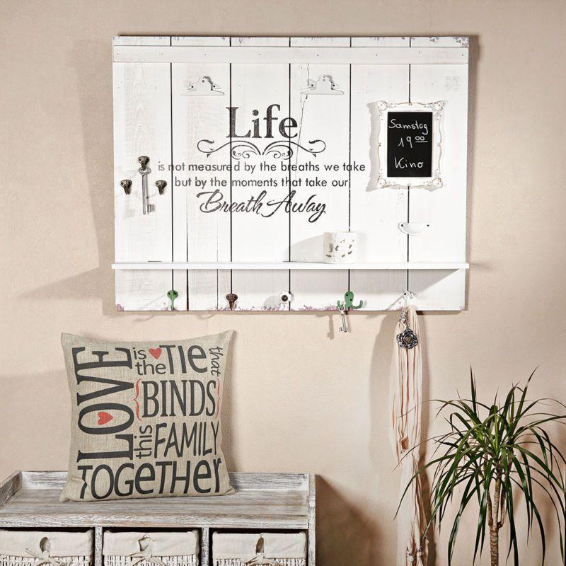 89cm Holzbild LIFE Ablage Garderobenhaken Tafel Fotorahmen Holz Weiß  Schriftzug