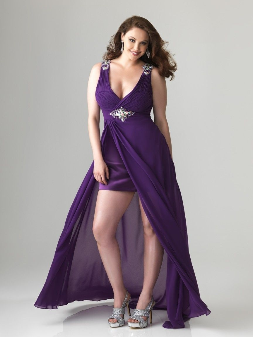 High low straps with diamonds chiffon plus size prom dresspd