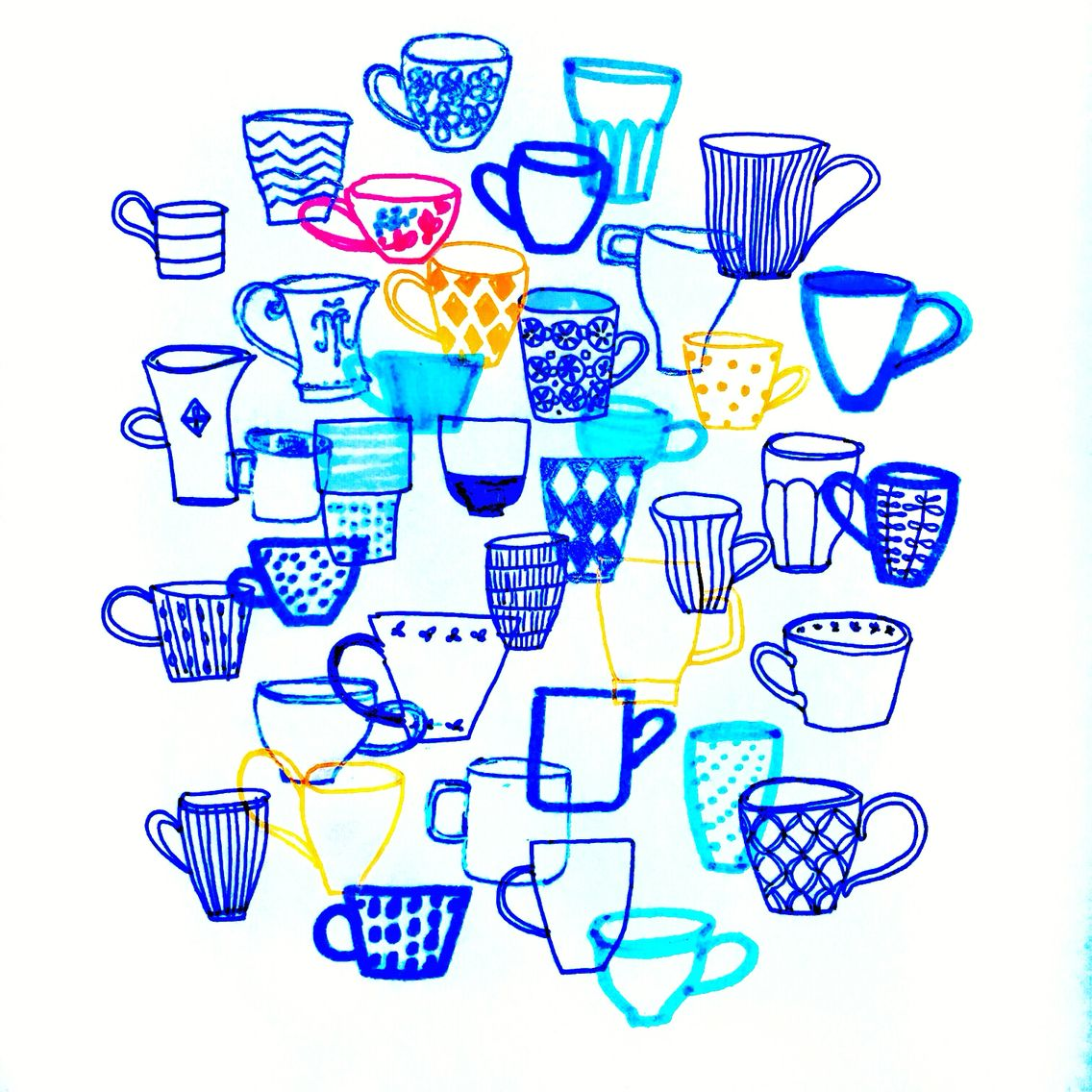 Would you like some more coffee? By Marie Åhfeldt, Mås Illustra. www.masillustra.se #coffee #cup #illustration #masillustra