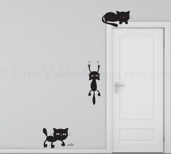 Playful Cats Wall Decal Kitten Wall Decal Living Room Decal