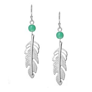 Silver Feather Earrings with Turquoise