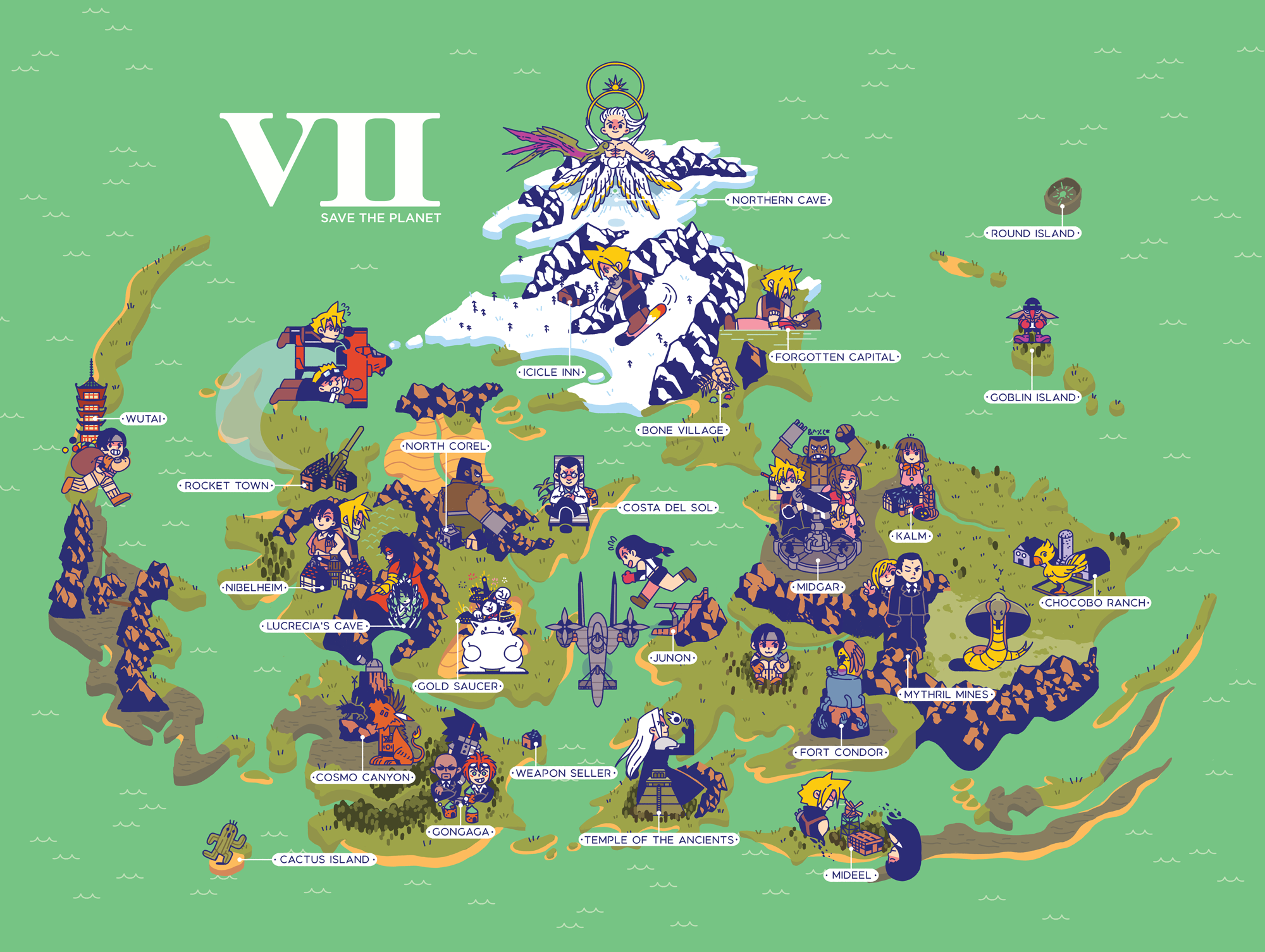 FF7 world map from ByronB Art in 2019 | Final fantasy vii ...
