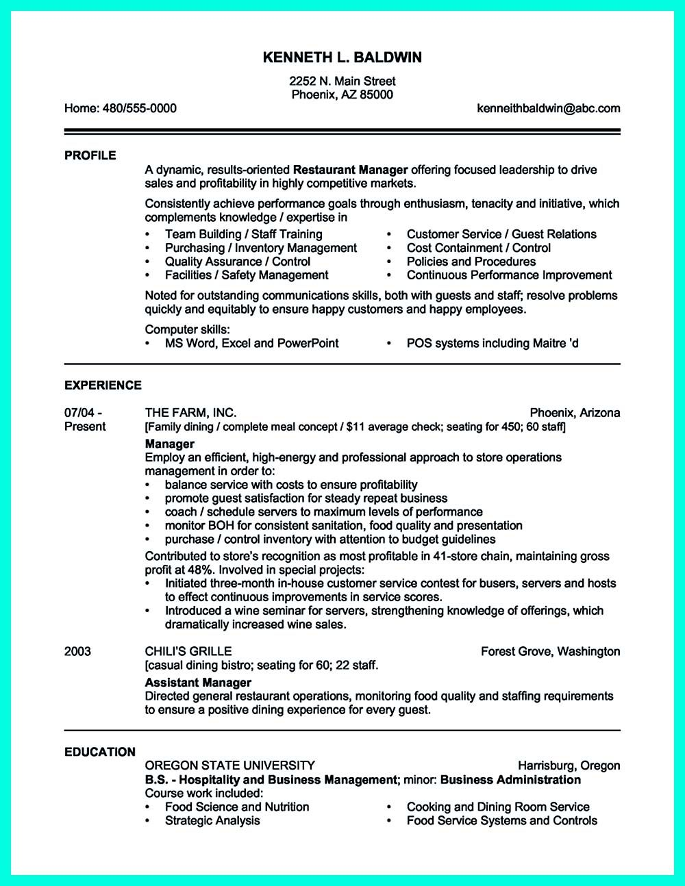 business plan sample your catering manager resume - Catering Manager Resume