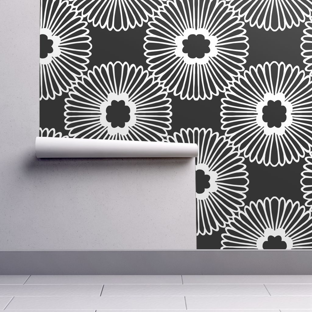 Peel And Stick Removable Wallpaper Flower Black White Modern Home And Nature Walmart Com Removable Wallpaper Peel And Stick Wallpaper Wallpaper