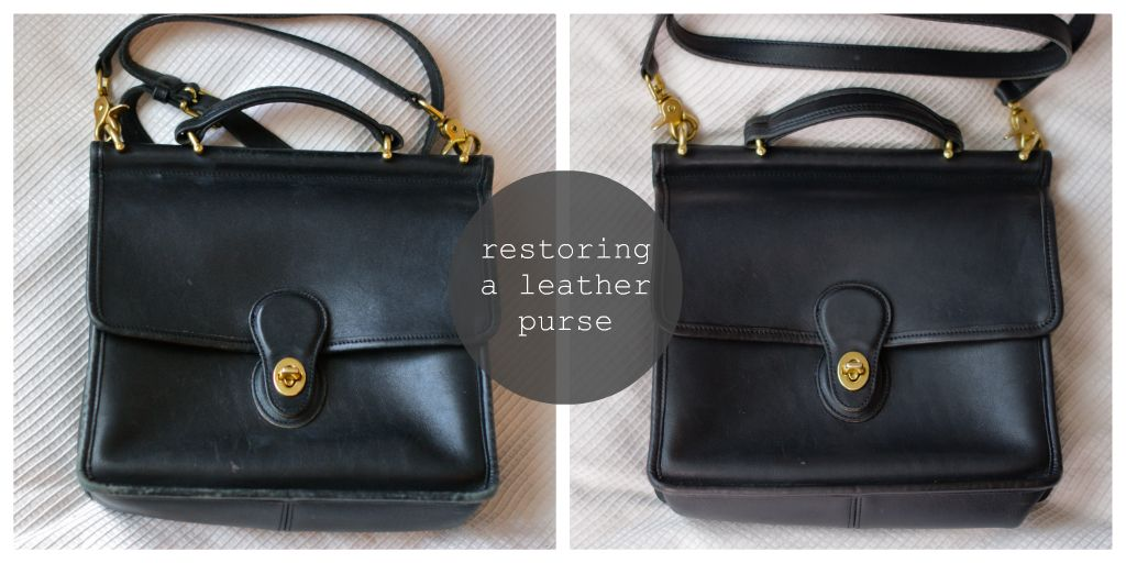 restoring leather purse, cleaning leather, repair old purse