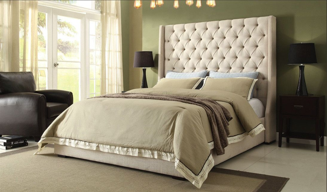 Eastern King Bed Park Avenue Collection Park Avenue EK(Eastern King Bed) Linen, LeatherFinish: Desert Sand, Wheat SavageDimension: Queen Bed: 71 X  89 X King ...