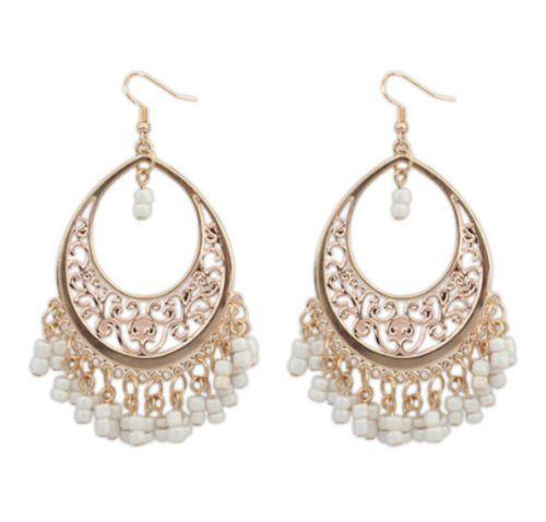 Gold-Alloy-Boho-Fashion-Woman-Dance-Beads-Tassel-Flower-Earrings-Dangle-Free