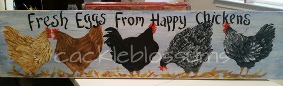 Chicken Art on Wood Original Chickens Sign 9.5 x by cackleblossums