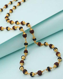 9f7369f6fe12e Black Beads Along With Rudraksha Studded Chain For Men in 2019 ...