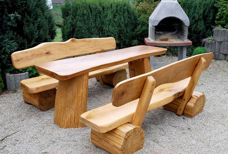 Massive Gartenbank Mit Tisch Holz Large Sitzgruppe Gartenbank