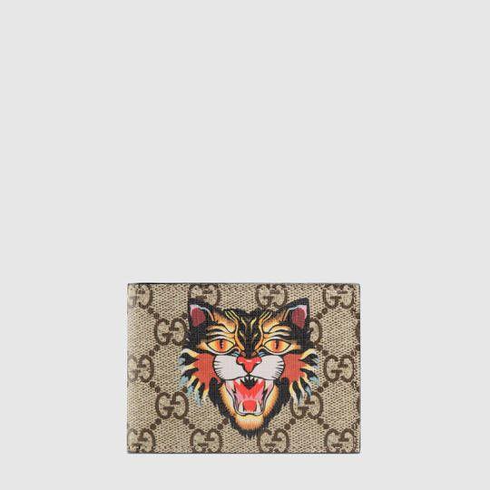 b1c358843780 Gucci Angry Cat print GG Supreme wallet | Wallets | Gucci, Wallet ...