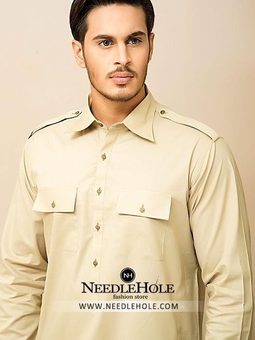 de6d3d4029 Double pocket salwar kameez suit for men in vanilla colour http://www.